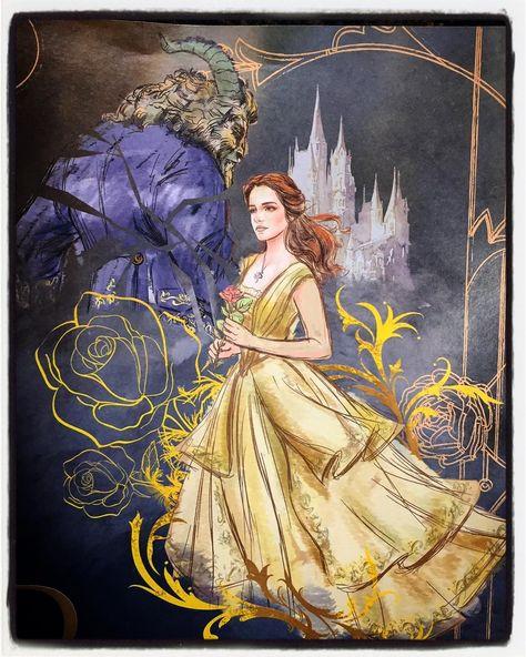 """bellaybestiason: """" Preciosas ilustraciones de La Bella y la Bestia (2017) con Bella (Emma Watson) y Bestia (Dan Stevens). """""""