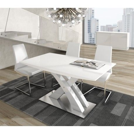 Mesa de comedor moderna extensible, color: blanco ...