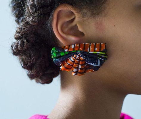 DIY Ankara African Dutch wax print earrings using textile hardener