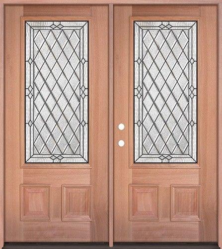 Diamond 3 4 Lite Mahogany Wood Double Door Unit 274 1558 2
