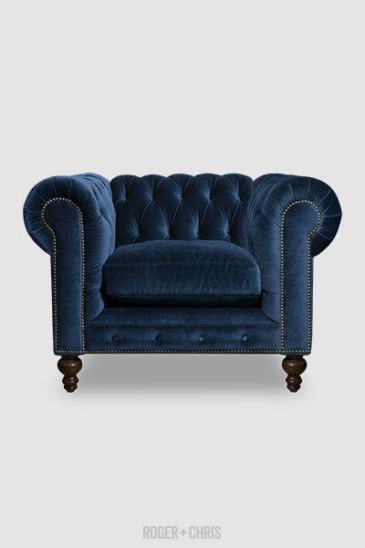 Blue Velvet Chesterfield Armchair Tufted Back Chair In Blue Velvet Rolled Arm Chair In Blue Leather Chesterfield Sofa Chesterfield Armchair Blue Fabric Sofa