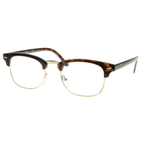 46354eeff1 Amazon.com  Vintage Inspired Classic Half Frame Horn Rimmed Clear Lens  Glasses (Tortoise-Gold)  Shoes