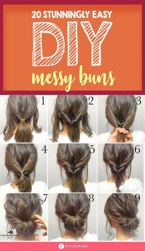 20 Stunningly Easy DIY Messy Buns - - When you were a kid, I'm sure your mother did everything she could to make sure your hair never looked messy. But now that you're all grown up, messy hair is the trendiest look to sport! Messy Bun For Short Hair, Cute Messy Buns, Bun Hairstyles For Long Hair, Hairstyle Look, Hairstyles Videos, School Hairstyles, Buns Hairstyles Tutorials, Easy Hairstyles For Short Hair, Wedding Hairstyles