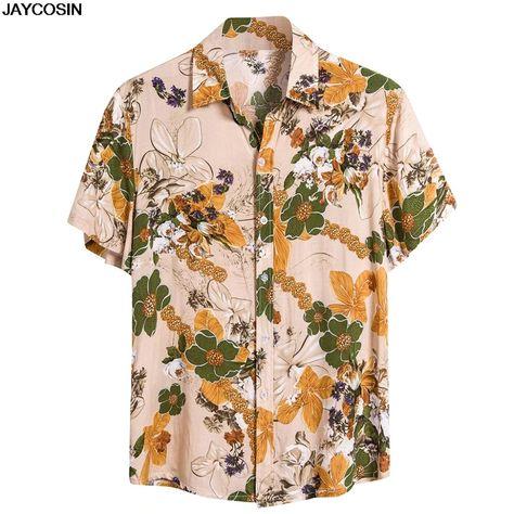 Coconut Tree Print Short Sleeve Button Hawaiian Shirt SF – loveitbabe