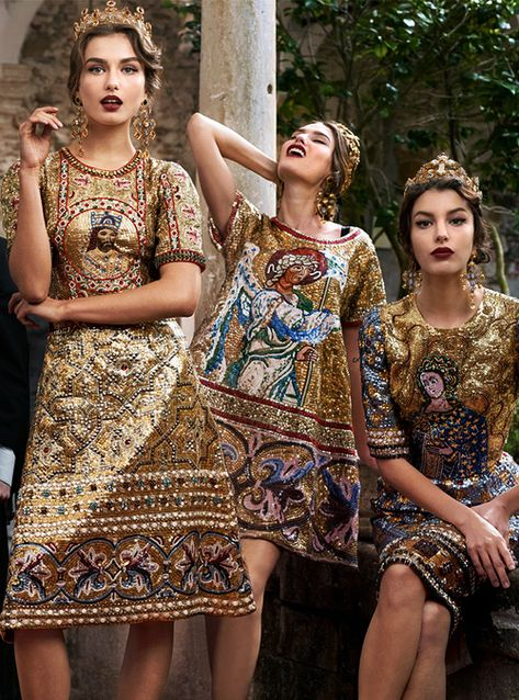 Gold and baroque printed dresses and crowns. Andreea Diaconu, Bianca Balti and Kate King by Domenico Dolce for Dolce & Gabbana Fall/Winter 2013
