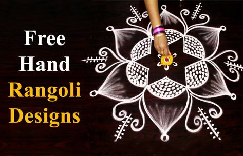 Indian Festive Season 2018 Simple Free Hand Rangoli Designs