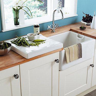 Cooke Lewis Chadwick White Rectangular Drainer Butler Sink Belfast Sink New Kitchen