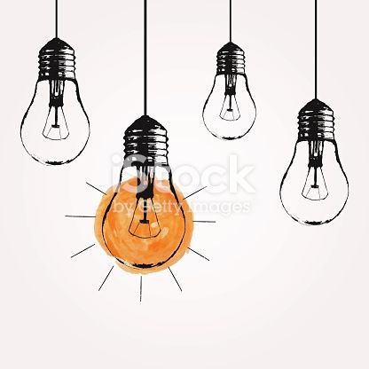 Vector Grunge Illustration With Hanging Light Bulbs And Place For Hanging Light Bulbs Light Bulb Art Light Bulb Drawing
