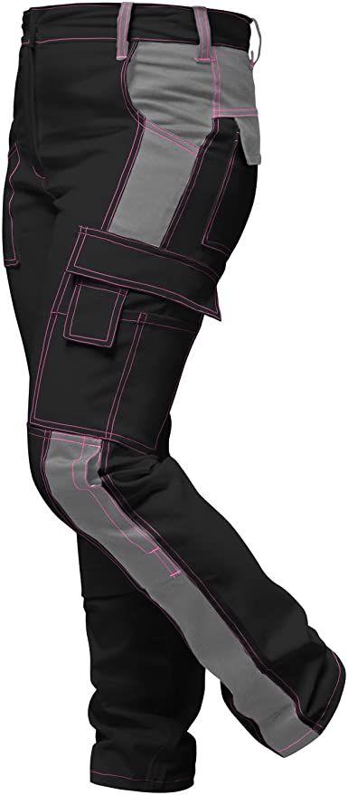 strongAnt Damen Arbeitshose Arbeits-Latzhose Stretch f/ür Frauen mit Kniepolstertaschen Baumwolle Kombihose Pink-Schwarz