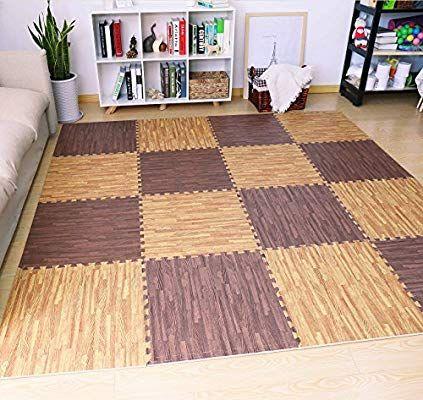 Amazon Com Sorbus Wood Floor Mats Foam Interlocking Wood Mats Each Tile Measures 4 Square Feet 3 8 Inch Foam Floor Tiles Foam Flooring Interlocking Flooring