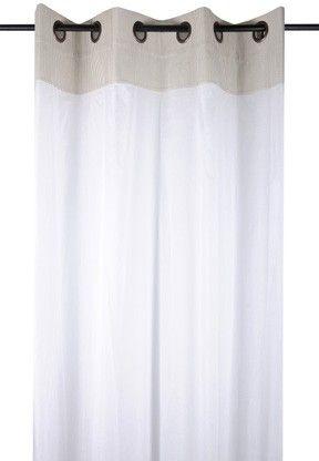 Rideau Voilage Charme Couleur Lin Raye Blanc Avec Dentelle 135x260cm A Oeillets 100 Coton Angele Lin Rideaux Voilages Voilage Rideaux