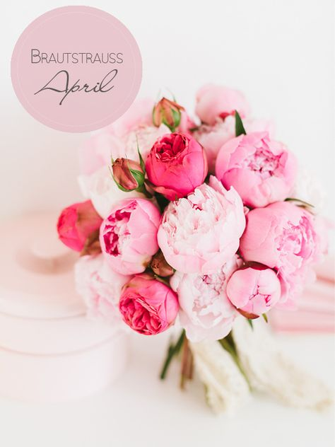 Brautstraußinspiration im April: üppig blühende und herrlich duftende Pfingstrosen, kombiniert mit ein paar schönen Freilandrosen.
