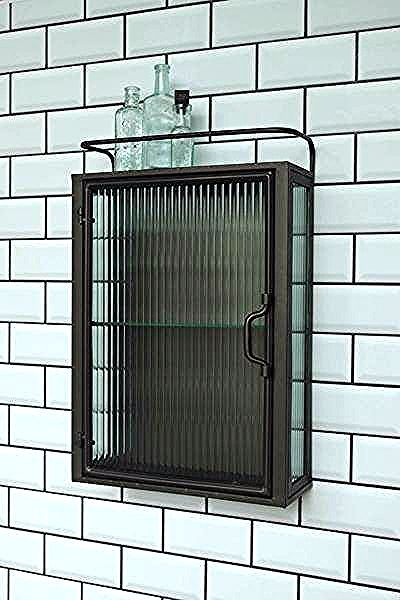 Industrial Fluted Glass Wall Cabinet Vintage Bathroom Cabinet