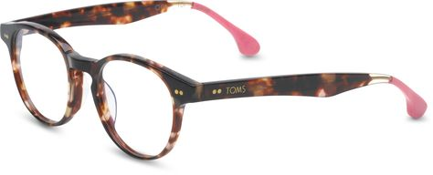 Wesley pink tortoise optical glasses by TOMS. Each purchase gives sight to a person in need.