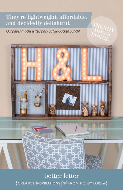 Hobby Lobby Project Better Letter Paper Mache Monogram Alpha Marquee Light Theater Salvage Kitchen Decor Office Easy Simple