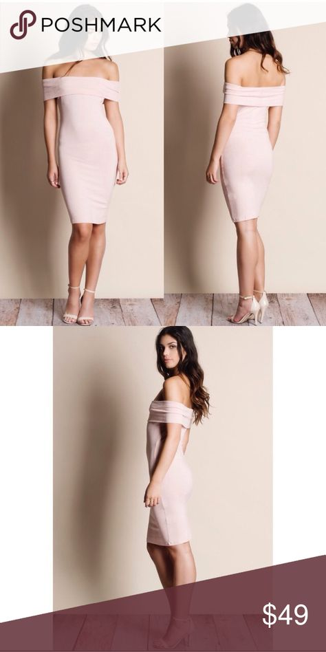 🌹Off Shoulder Dress - BLUSH Brand New Off Shoulder Dress in a gorgeous blush color. It is made off 96% rayon and 4% spandex. Available in Standard Small, Medium and Large. Sorry No trades, price is firm. Dresses Midi