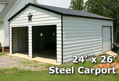 24x26 Fully Enclosed Steel Garage Carport Installation Included Metal Garage Buildings Steel Garage Carport