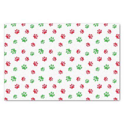 Cute Red Green Paw Prints Pattern Christmas Theme Tissue Paper Zazzle Com Paw Print Cat Paw Print Custom Tissue Paper