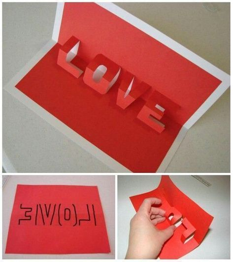 Simple DIY 3D Love Valentine Card for Him, #simple #valentine