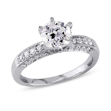 6.5mm Lab-Created White Sapphire and 1/4 CT. T.w. Diamond Vintage-Style Ring in 10K White Gold