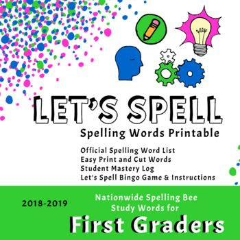 2019 2020 School Spelling Bee Study List.Scripps First Grade Spelling Words Printable 2018 2019