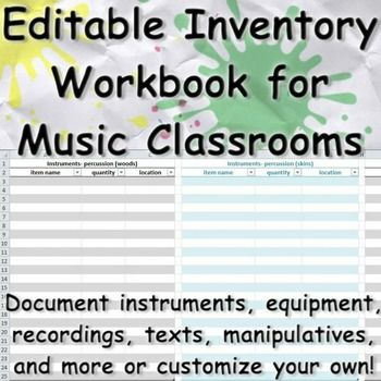 Music Classroom Inventory Excel Workbook (fully editable) Music - inventory template