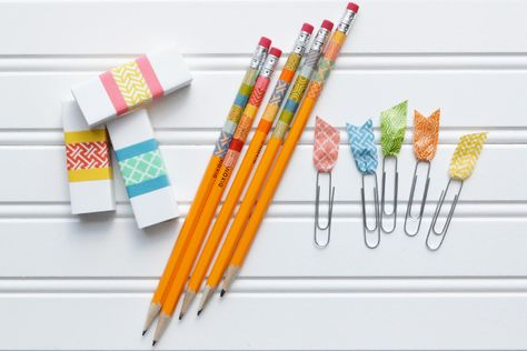 washi tape school supplies - Scrapbook.com- personalize school items on a budget!