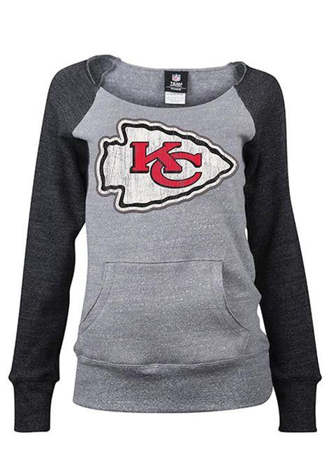 012de455 KC Chiefs Chiefs Womens Grey Tri-Blend Long Sleeve Crew Sweatshirt ...
