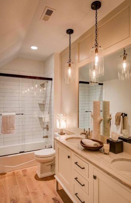 Bathroom Mirror Double Sink Pendant Lights 24 Ideas Bathroom Bathroom Mirror Kids Bathroom Lighting Bathroom Remodel Shower Bathtub
