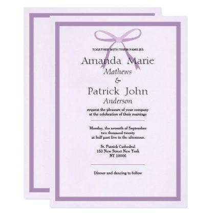 Modern Lavender Lilac Bow Simple Wedding Card