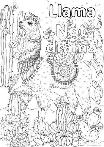 Llama Not Drama Printable Adult Coloring Printable Adult