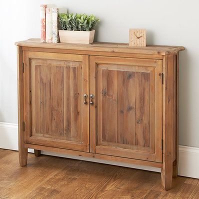 Antique White Sliding Door Console Rustic Sideboard