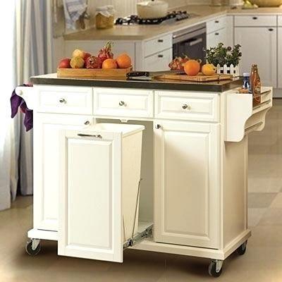 Kitchen Island Cart With Trash Bin Https Www Otoseriilan Com Building A Kitchen Portable Kitchen Island White Kitchen Cart