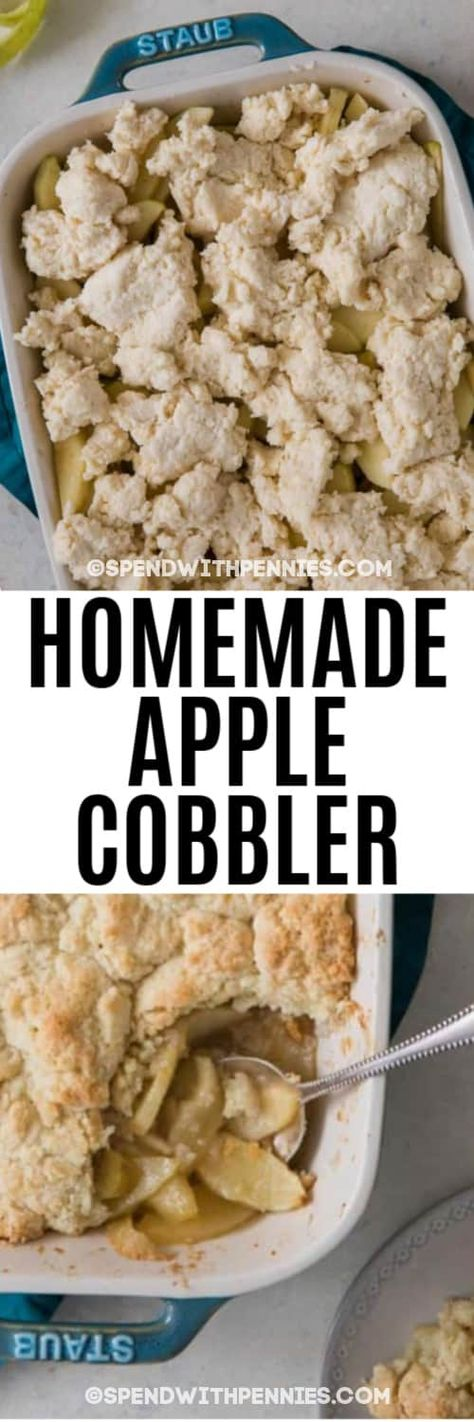 How to make the BEST Apple Cobbler. Easy and completely homemade! #applecobbler #spendwithpennies #cobblerrecipe #summerbaking #dessert #easydessert #cobblerdessert #fruitcobbler #apples