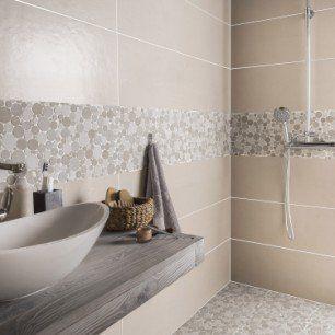 Mosaique Sol Et Mur Splash Taupe Et Beige Leroymerlin Salle De Bain