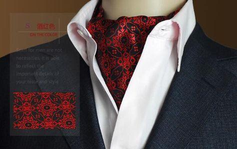 Black /& Burgundy Paisley Satin Self-Tie Ascot Cravat