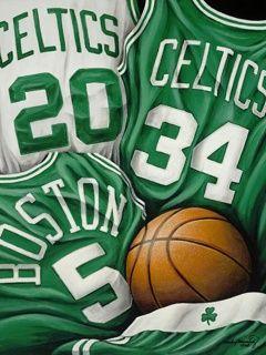 Boston Celtics. #20 Ray Allen, #34 Paul Pierce, #5 Kevin Garnett ~