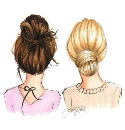 New Hair Drawing Bun Sketches Ideas Drawings Of Friends Best Friend Drawings Bff Drawings