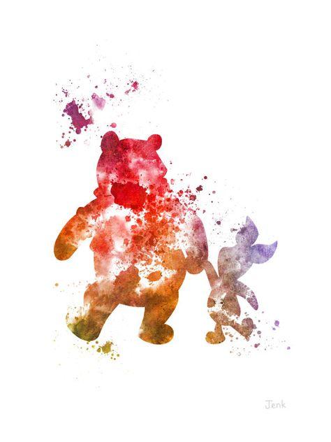 """Winnie l'Ourson et Porcinet ART PRINT 10 x 8"""" illustration, Disney, technique mixte, Home Decor, pépinière, Kid"""