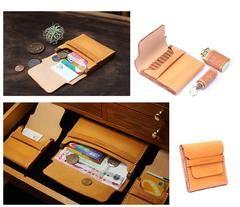 Cool Wooden Brown Leather Mens Wallet Small Card Holder Coin Wallet For Men Bolsas De Couro Bolsas Couro