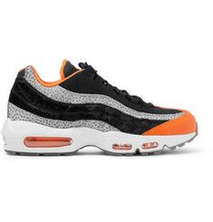release date: sale uk new arrivals Nike - Air Max 95 Panelled Leather and Mesh Sneakers ...