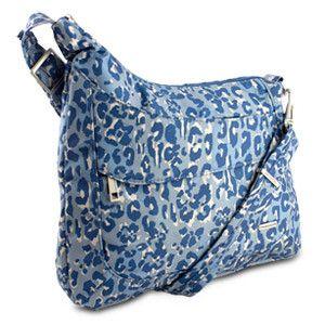 Travelon Anti Theft Asymmetric Rfid Crossbody Blue Leopard