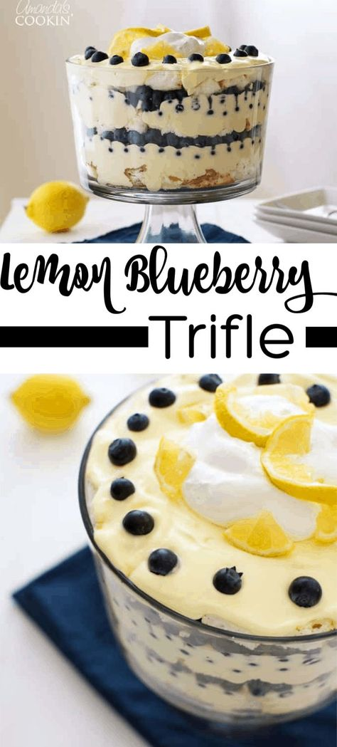 Juicy blueberries and bright lemon pudding combine in a stunning dessert. This mouthwatering lemon blueberry trifle is impressive yet incredibly easy! #blueberry #lemon #dessert #summerdessert #summer #potluck #trifle #lemontrifle #nobakedessert #puddingdessert #easter #easterdessert
