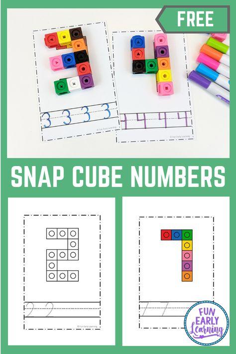 Preschool Numbers Activities for PreK, Preschool, and Kindergarten! Snap Cube Numbers free printable in color and blackline. #freeprintable #mathcenter #funearlylearning