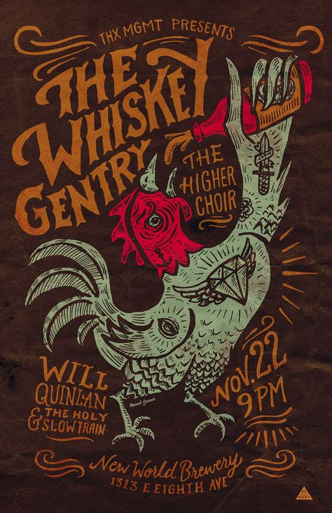Gigposter design and illustration for The Whiskey Gentry + The Higher Choir + Will Quinlan & The Holy Slow Train. New World Brewery. Ybor City.