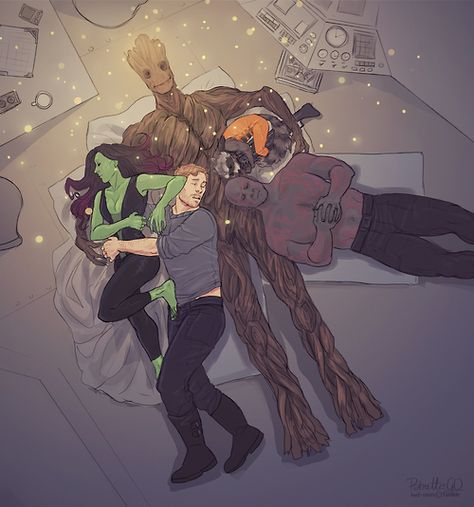 We are Groot. I love how rocket is curled up under his arm, with a gun, of course. Lol