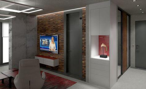 Der Wohnzimmerschrank Nach Mass Von Cabinet Hat Einen Besonderen Blickfang Die Rote Glasruckwand Verleiht Dem Schra In 2020 Wohnzimmerschranke Einbauschrank Wohnzimmer