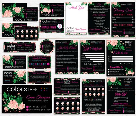 Color Street Marketing Bundle, Personalized Color Street Cards CL60 Black - Full Kit 16 items / 12 hours