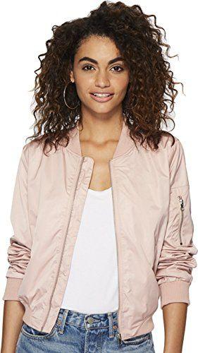 c42e33cd8ba BB Dakota Women's Cayleigh Nylon Bomber Jacket, Pink Lemonade, Extra Small