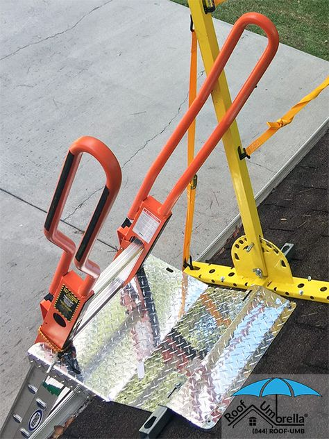 As Part Of The Roof Umbrella System The Ladder Dock Secures Your Ladder And Protects The Gutter Add A Step Straight To Prov Ladder Umbrella Health And Safety